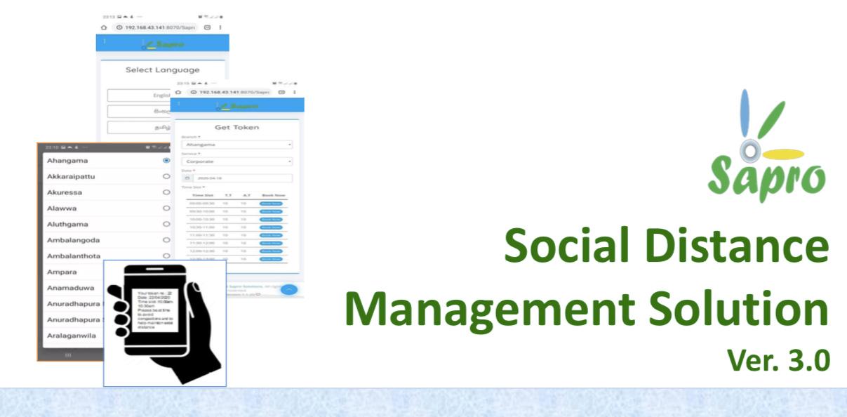 Sapro Social Distance Management Solution